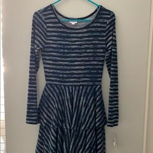 NWT LuLaRoe black & blue striped Georgia XS